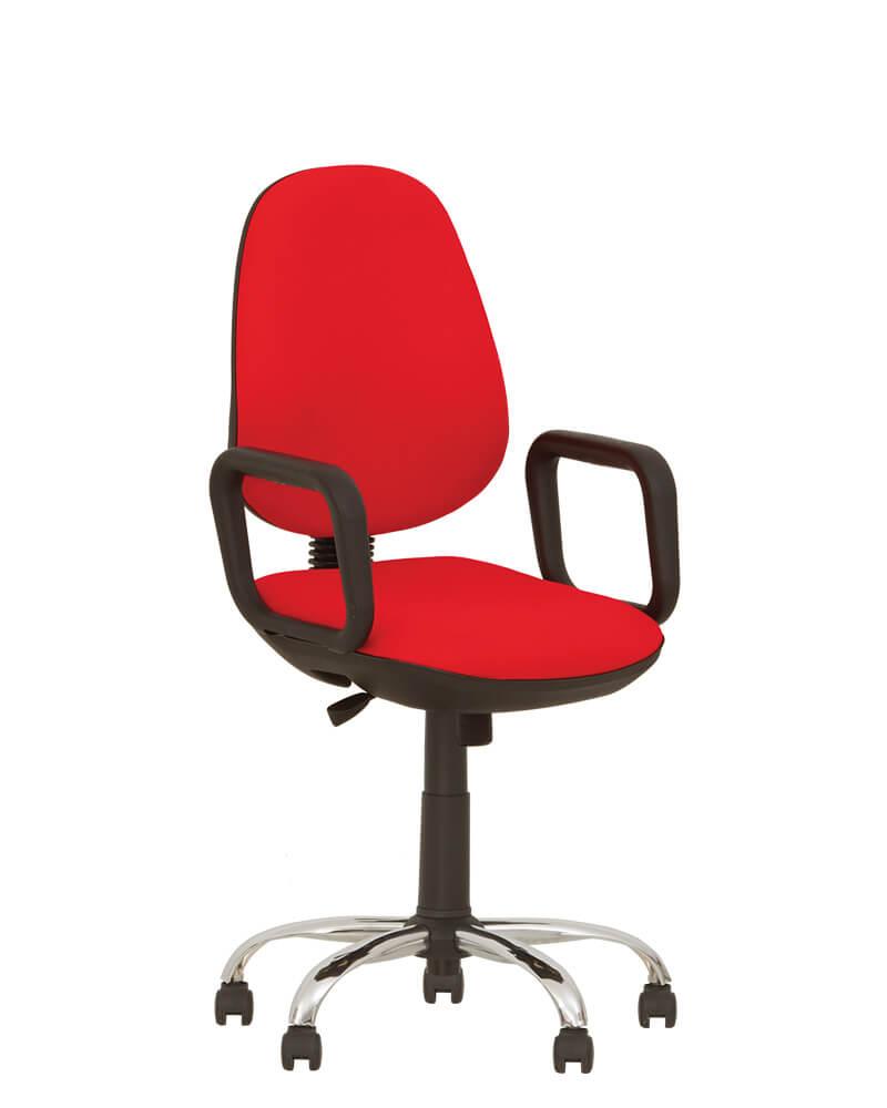 Biuro kėdė Comfort GTP steel chrome su stabiliais porankiais.
