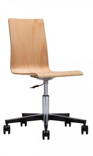 Darbuotojų kėdė Cafe VII gts steel 23 chrome su atlošu ir sėdyne iš faneros