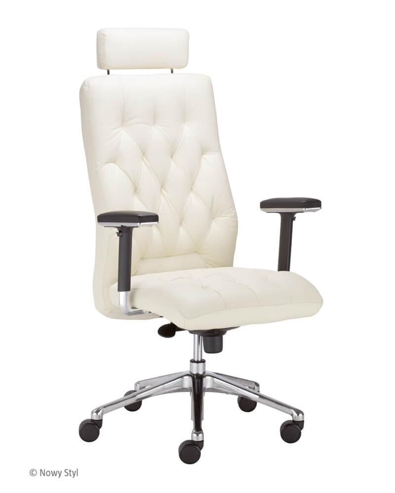 Ergonominė kėdė Chester HRU R23P2 steel 28 chrome su natūralios odos atlošu ir sėdyne.