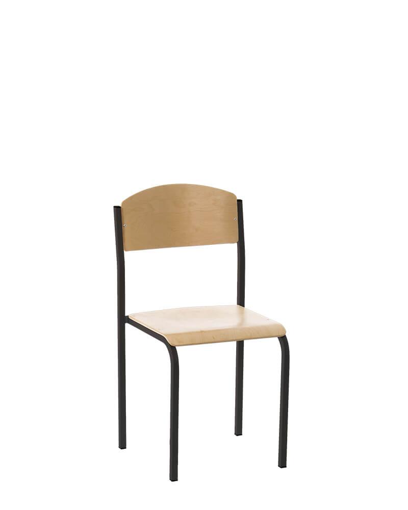 Mokyklinė kėdė E-261 yra su milteliais dažytu metaliniu rėmu.
