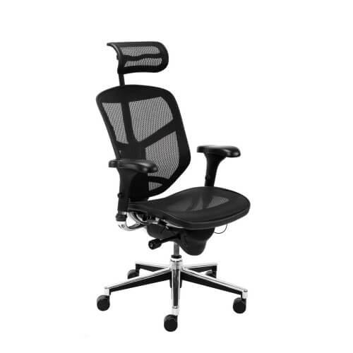 Ergonominė kėdė Enjoy R HRMA su tankaus tinklelio atlošu ir gobelenu aptraukta sėdyne.