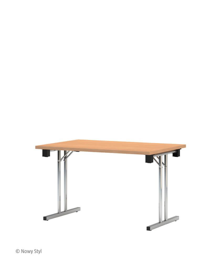 Tvirtas sudedamas stalas Eryk 120x50 cm su stalviršiu iš drožlių plokštės.