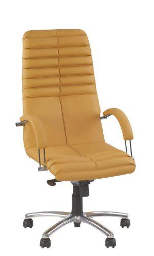 Vadovo kėdė Galxy steel chrome su oda apmuštais atlošu ir sėdyne.