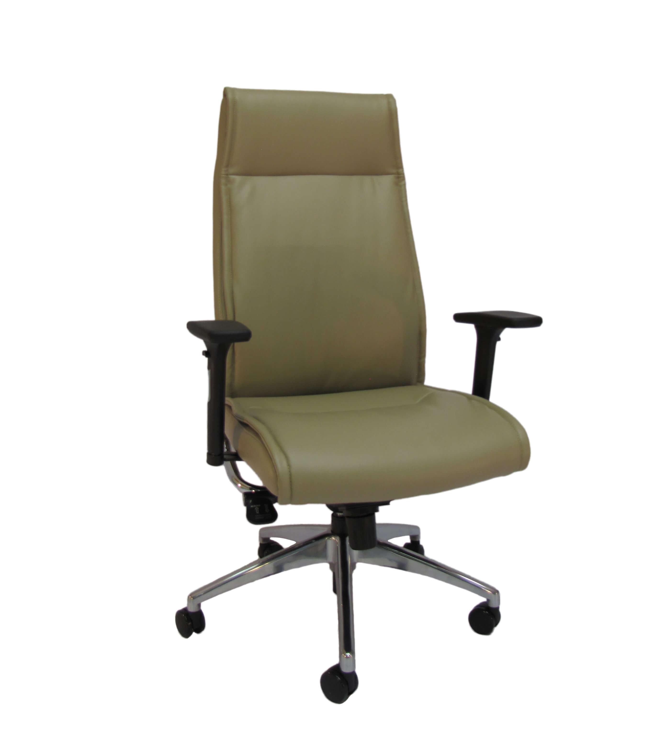 Natūralios odos ergonominė kėdė Jersey HB LE su atrama galvai.