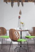 Virtuvinis stalas Cafe topalit ⌀80 su mediniu stalviršiu.