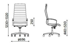 Biuro kėdės Lynx matmenys.