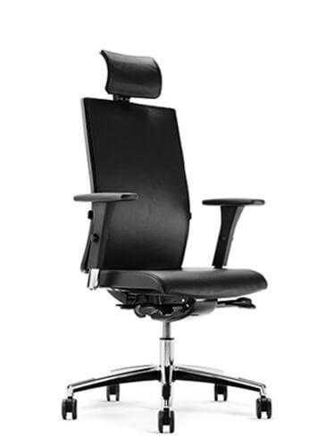 Ergonominė kėdė Mojito 426 yra natūralios odos ar kokybiško audinio.