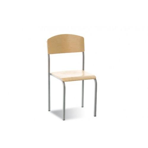 Mokyklinė kėdė E-262 yra su milteliais dažytu tvirtu metaliniu rėmu.