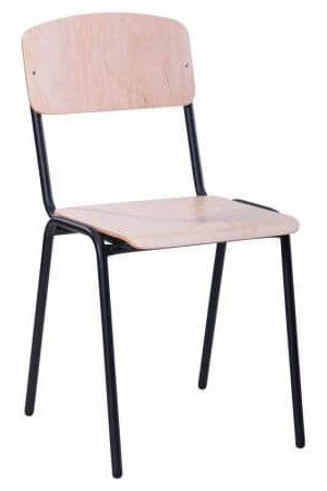 Mokyklinė kėdė yra su milteliniu būdu dažytu juodu metaliniu rėmu.