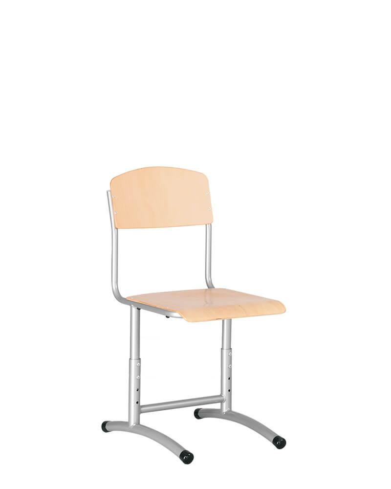 Mokyklinė reguliuojamo aukščio kėdė yra su milteliais dažytu tvirtu metaliniu rėmu.