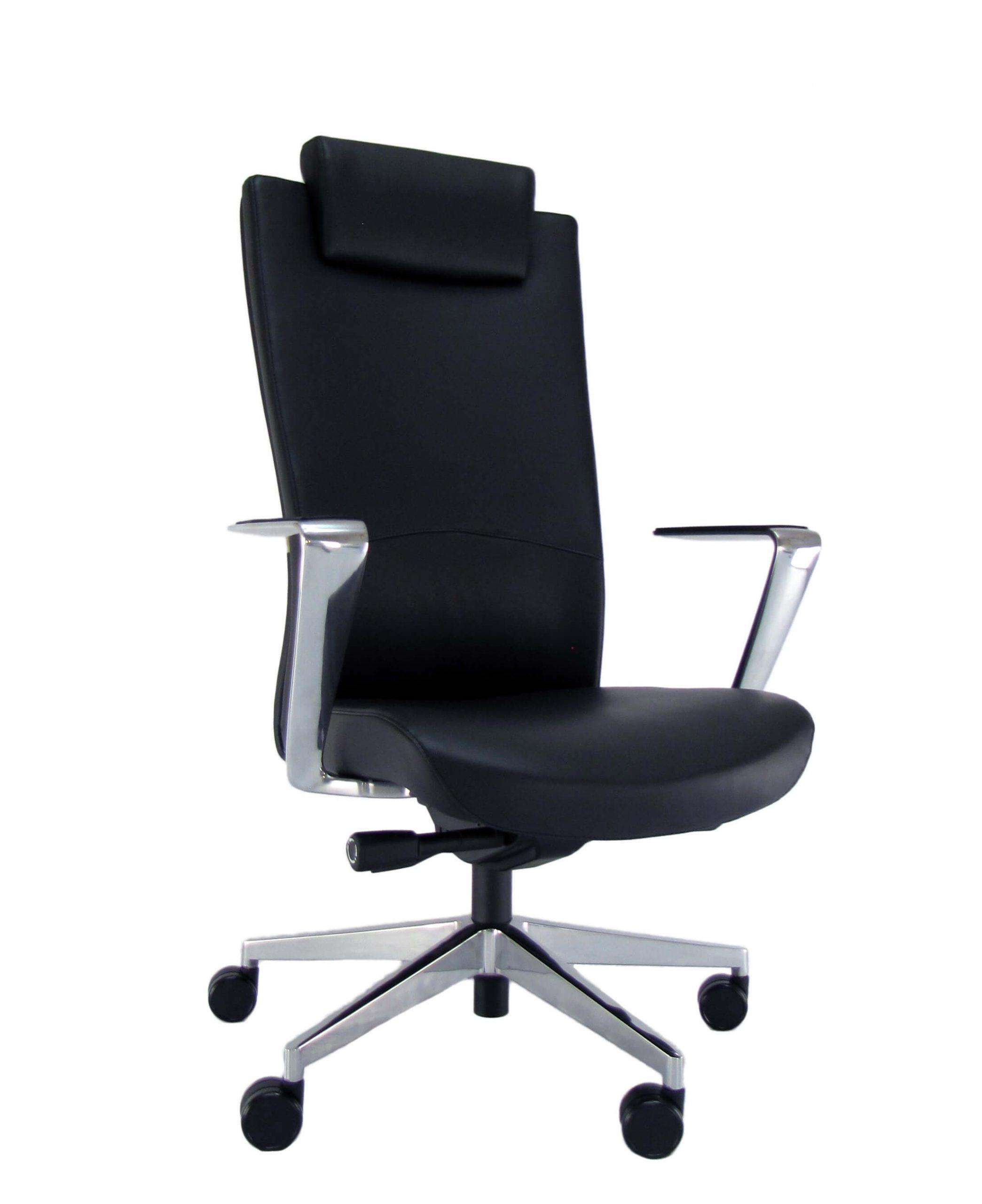 Natūralios odos ergonominė kėdė Newport HRU LE su atrama galvai.
