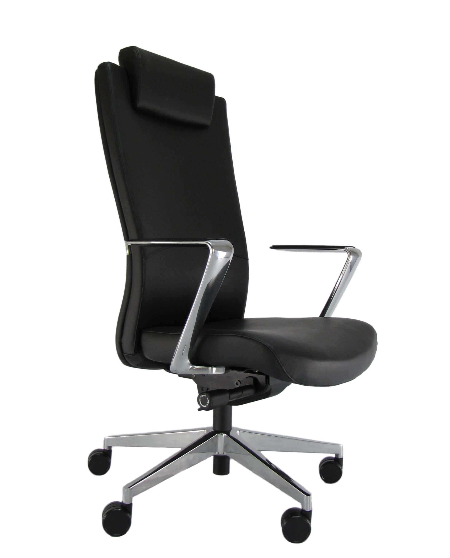 Minkštos eko odos ergonominė kėdė Newport HRU su atrama galvai.