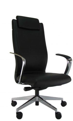 Natūralios odos ergonominė kėdė Portland HRU su atrama galvai.