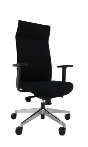 Ergonominė kėdė Rock HB su gobelenu aptrauktais atlošu ir sėdyne, reguliuojamais porankiais.