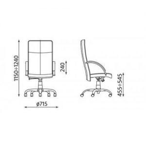 Vadovo kėdė Sabio steel chrome su chromuoto plieno pagrindu.