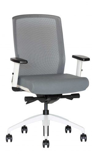 Balto rėmo ergonominė kėdė Scandi su ratukais, tvirto tinkliuko atlošu.
