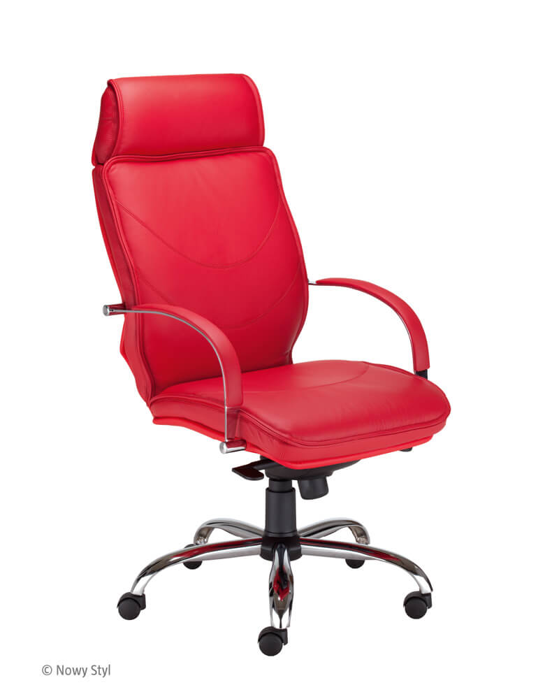 Vadovo kėdė Valentino HB steel chrome su stabiliais porankiais.