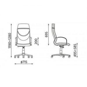 Vadovo kėdė Valentino- matmenys.