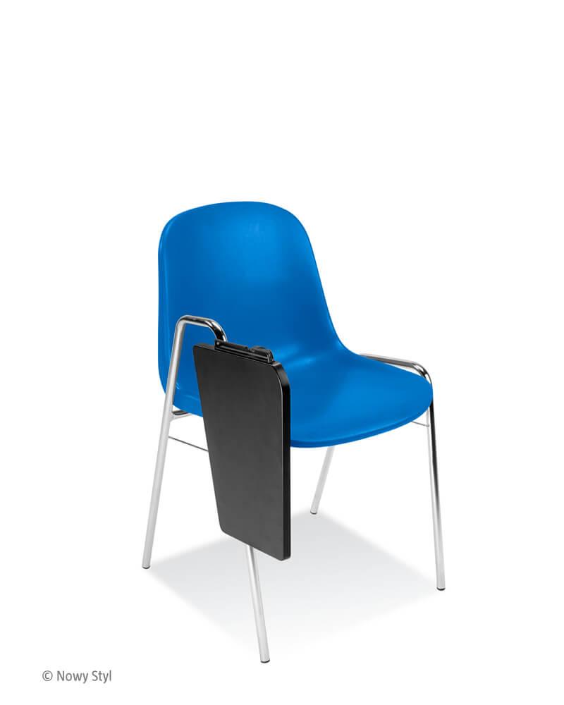 Konferencinė kėdė Beta T chrome yra su konferenciniu staliuku.
