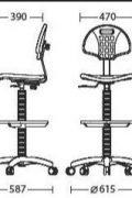 Speciali laboratorinė kėdė Laborant GTS + ring base chrome su atlošu ir sėdyne iš minkšto poliuretano.