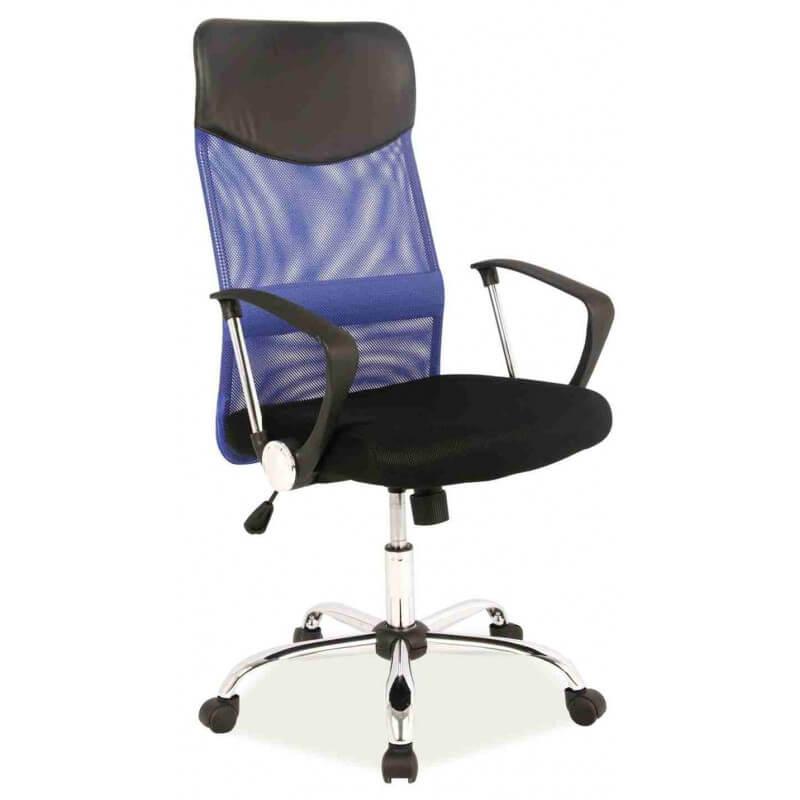 Biuro kėdė HIT W-03 blue su mėlynos spalvos tinklelio atlošu.