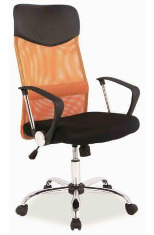 Biuro kėdė HIT W-03 orange su tinklelio atlošu, plačia sėdyne