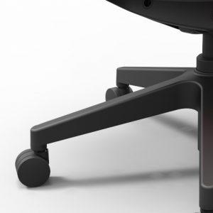 Juodas nailoninis pagrindas biuro kėdės.