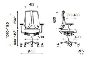 Ergonominė kėdė Denuo- matmenys.