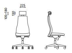 Ergonominė kėdė Viden- matmenys.