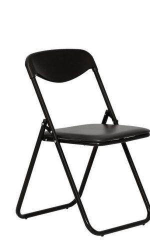 Sulankstoma kėdė Jack black 3 su paminkštinta sėdyne.