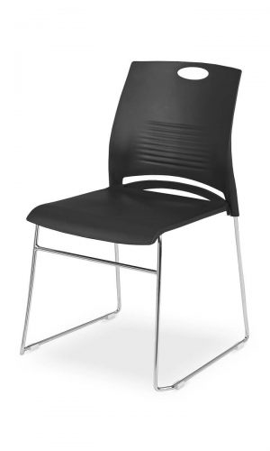 Konferencinė kėdė West su chromuoto metalo kojomis.